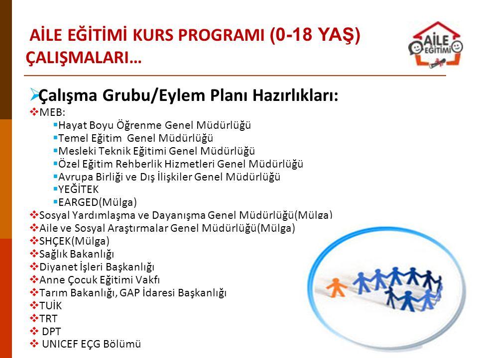  Çalışma Grubu/Eylem Planı Hazırlıkları:  MEB:  Hayat Boyu Öğrenme Genel Müdürlüğü  Temel Eğitim Genel Müdürlüğü  Mesleki Teknik Eğitimi Genel Mü