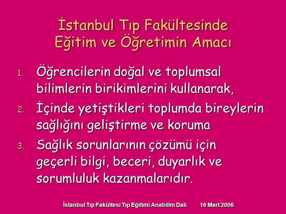 İstanbul Tıp Fakültesi Tıp Eğitimi Anabilim Dalı 16 Mart 2006 1. Öğrencilerin doğal ve toplumsal bilimlerin birikimlerini kullanarak, 2. İçinde yetişt