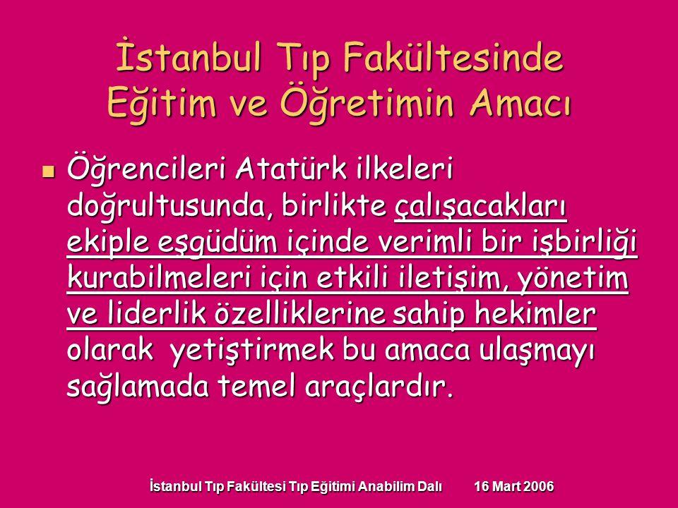 İstanbul Tıp Fakültesi Tıp Eğitimi Anabilim Dalı 16 Mart 2006 Öğrencileri Atatürk ilkeleri doğrultusunda, birlikte çalışacakları ekiple eşgüdüm içinde verimli bir işbirliği kurabilmeleri için etkili iletişim, yönetim ve liderlik özelliklerine sahip hekimler olarak yetiştirmek bu amaca ulaşmayı sağlamada temel araçlardır.