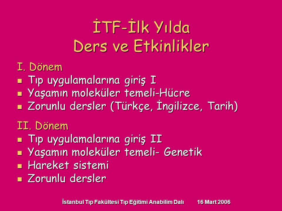 İstanbul Tıp Fakültesi Tıp Eğitimi Anabilim Dalı 16 Mart 2006 I. Dönem Tıp uygulamalarına giriş I Tıp uygulamalarına giriş I Yaşamın moleküler temeli-