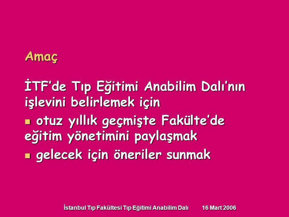 İstanbul Tıp Fakültesi Tıp Eğitimi Anabilim Dalı 16 Mart 2006 Amaç İTF'de Tıp Eğitimi Anabilim Dalı'nın işlevini belirlemek için otuz yıllık geçmişte Fakülte'de eğitim yönetimini paylaşmak otuz yıllık geçmişte Fakülte'de eğitim yönetimini paylaşmak gelecek için öneriler sunmak gelecek için öneriler sunmak
