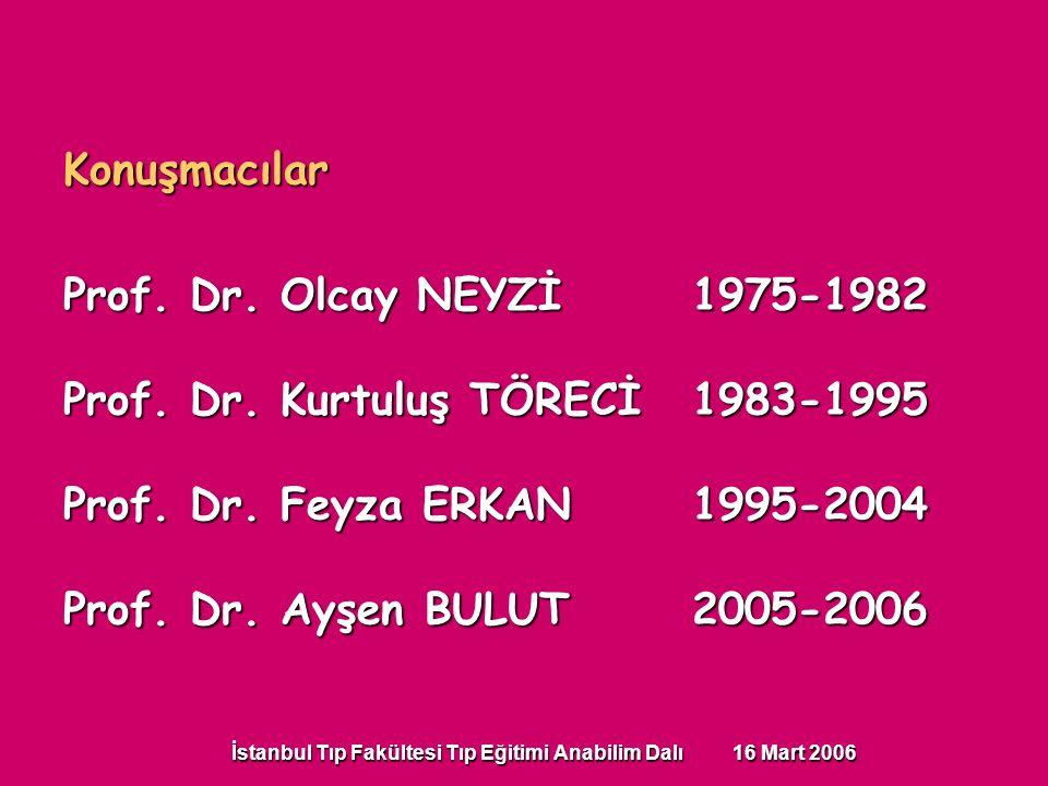 İstanbul Tıp Fakültesi Tıp Eğitimi Anabilim Dalı 16 Mart 2006 Konuşmacılar Prof. Dr. Olcay NEYZİ1975-1982 Prof. Dr. Kurtuluş TÖRECİ1983-1995 Prof. Dr.
