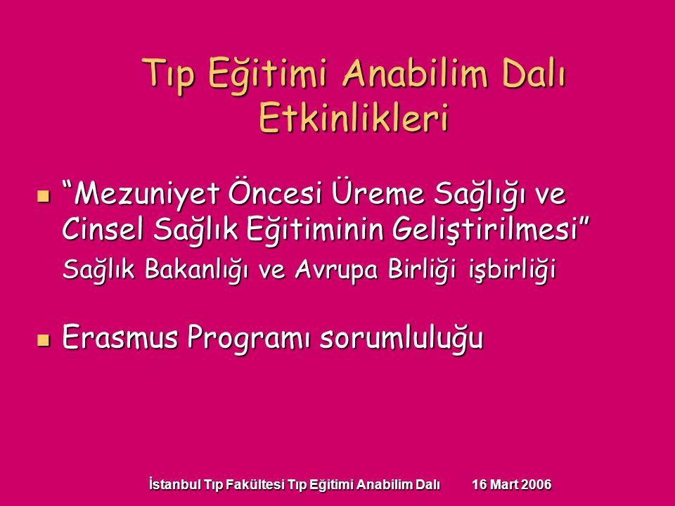 İstanbul Tıp Fakültesi Tıp Eğitimi Anabilim Dalı 16 Mart 2006 Mezuniyet Öncesi Üreme Sağlığı ve Cinsel Sağlık Eğitiminin Geliştirilmesi Mezuniyet Öncesi Üreme Sağlığı ve Cinsel Sağlık Eğitiminin Geliştirilmesi Sağlık Bakanlığı ve Avrupa Birliği işbirliği Erasmus Programı sorumluluğu Erasmus Programı sorumluluğu Tıp Eğitimi Anabilim Dalı Etkinlikleri
