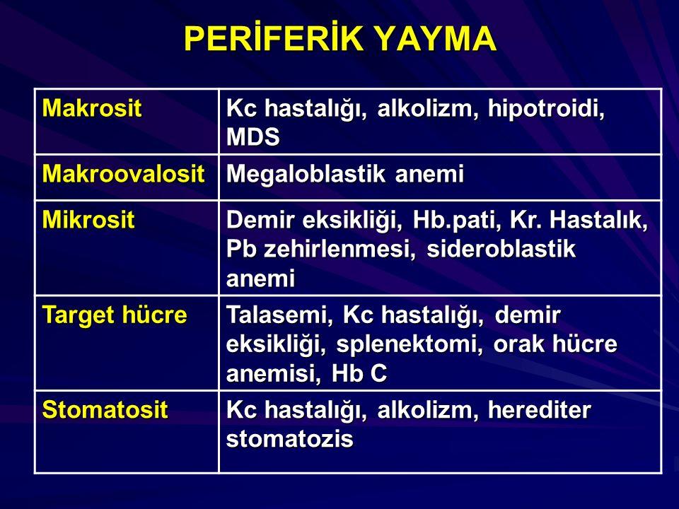 PERİFERİK YAYMA Makrosit Kc hastalığı, alkolizm, hipotroidi, MDS Makroovalosit Megaloblastik anemi Mikrosit Demir eksikliği, Hb.pati, Kr. Hastalık, Pb