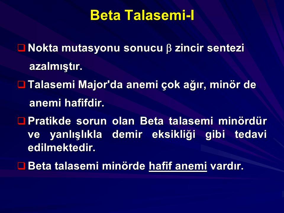 Beta Talasemi-I  Nokta mutasyonu sonucu  zincir sentezi azalmıştır. azalmıştır.  Talasemi Major'da anemi çok ağır, minör de anemi hafifdir. anemi h