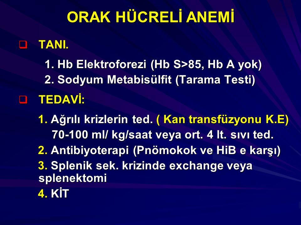 ORAK HÜCRELİ ANEMİ  TANI. 1. Hb Elektroforezi (Hb S>85, Hb A yok) 1. Hb Elektroforezi (Hb S>85, Hb A yok) 2. Sodyum Metabisülfit (Tarama Testi) 2. So