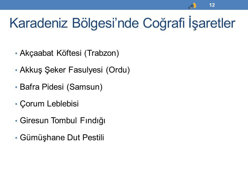 Karadeniz Bölgesi'nde Coğrafi İşaretler Akçaabat Köftesi (Trabzon) Akkuş Şeker Fasulyesi (Ordu) Bafra Pidesi (Samsun) Çorum Leblebisi Giresun Tombul F