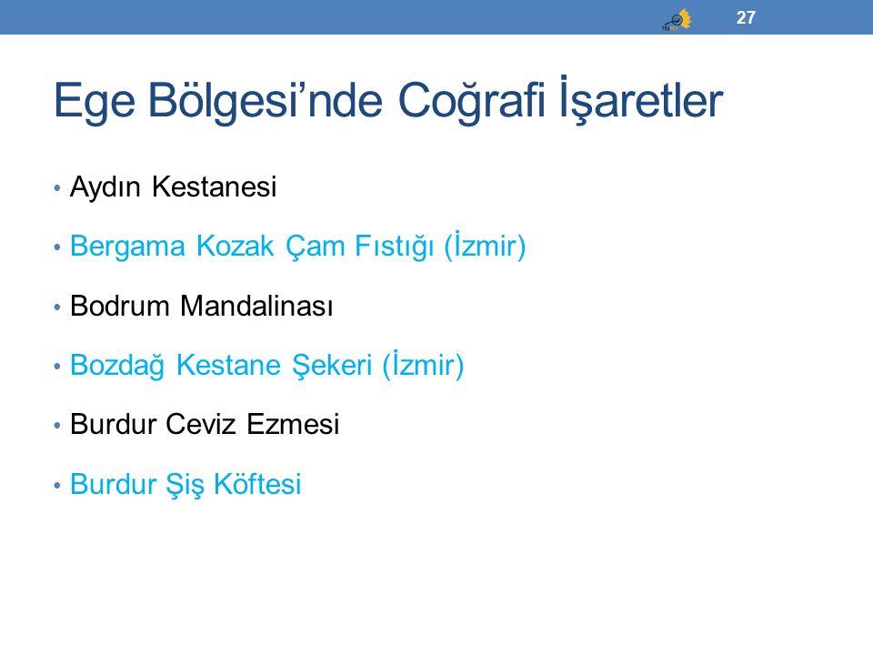 Ege Bölgesi'nde Coğrafi İşaretler Aydın Kestanesi Bergama Kozak Çam Fıstığı (İzmir) Bodrum Mandalinası Bozdağ Kestane Şekeri (İzmir) Burdur Ceviz Ezme