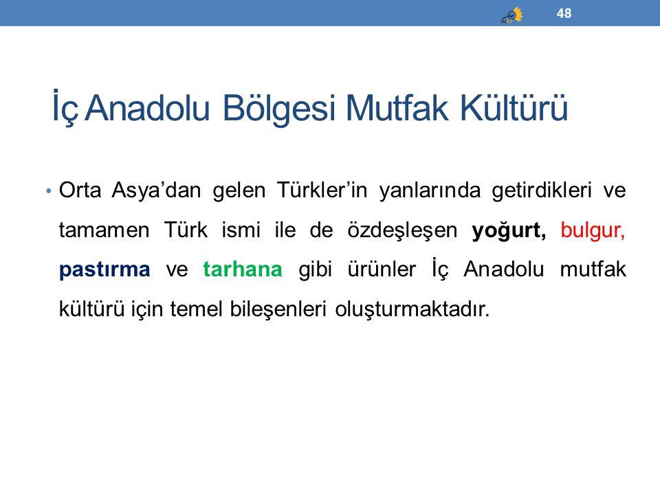 İç Anadolu Bölgesi Mutfak Kültürü Orta Asya'dan gelen Türkler'in yanlarında getirdikleri ve tamamen Türk ismi ile de özdeşleşen yoğurt, bulgur, pastır