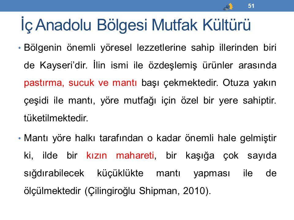 İç Anadolu Bölgesi Mutfak Kültürü Bölgenin önemli yöresel lezzetlerine sahip illerinden biri de Kayseri'dir. İlin ismi ile özdeşlemiş ürünler arasında