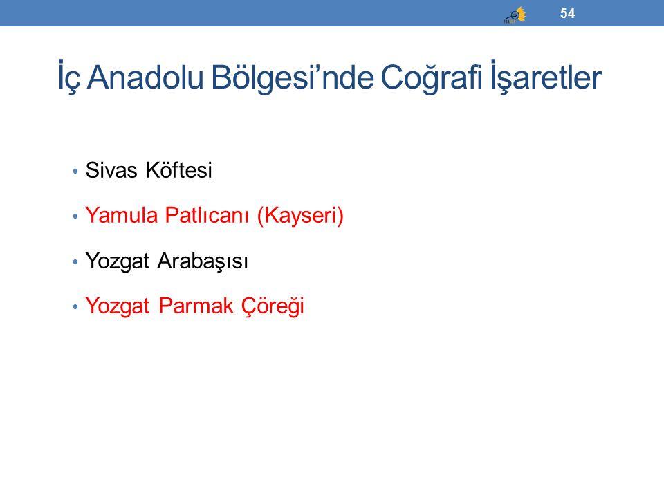 İç Anadolu Bölgesi'nde Coğrafi İşaretler Sivas Köftesi Yamula Patlıcanı (Kayseri) Yozgat Arabaşısı Yozgat Parmak Çöreği 54
