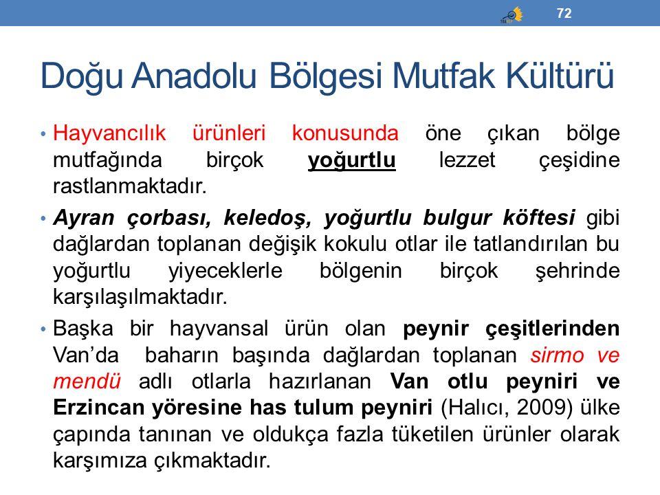 Doğu Anadolu Bölgesi Mutfak Kültürü Hayvancılık ürünleri konusunda öne çıkan bölge mutfağında birçok yoğurtlu lezzet çeşidine rastlanmaktadır. Ayran ç