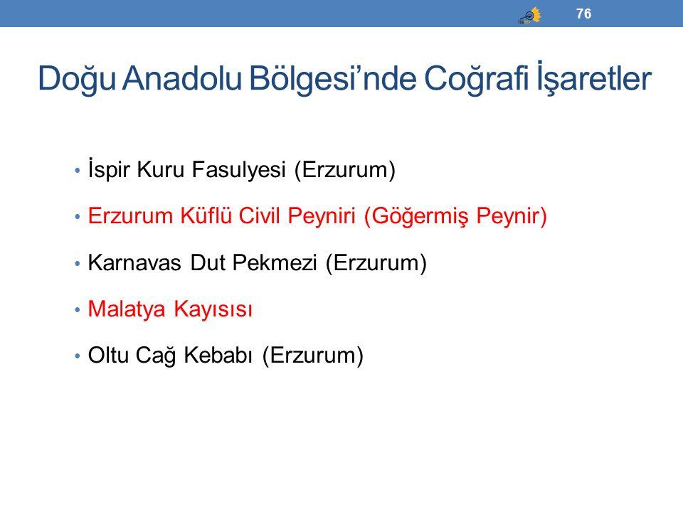 Doğu Anadolu Bölgesi'nde Coğrafi İşaretler İspir Kuru Fasulyesi (Erzurum) Erzurum Küflü Civil Peyniri (Göğermiş Peynir) Karnavas Dut Pekmezi (Erzurum)