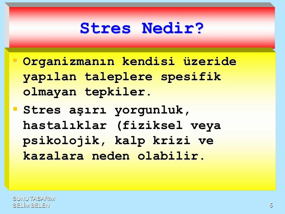 5 Stres Nedir. Organizmanın kendisi üzeride yapılan taleplere spesifik olmayan tepkiler.