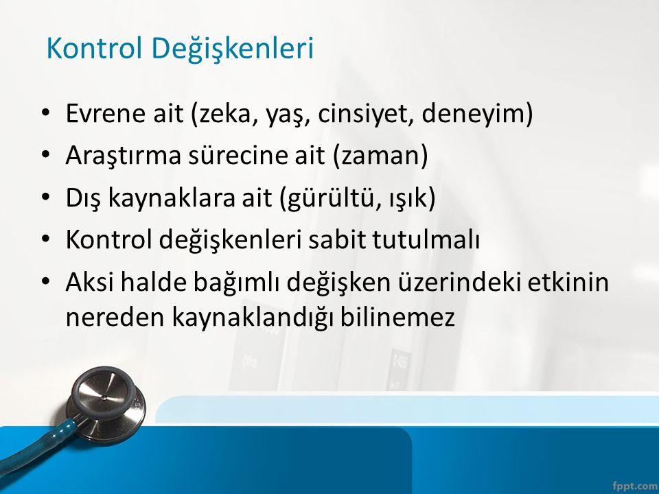 Kontrol Değişkenleri Evrene ait (zeka, yaş, cinsiyet, deneyim) Araştırma sürecine ait (zaman) Dış kaynaklara ait (gürültü, ışık) Kontrol değişkenleri