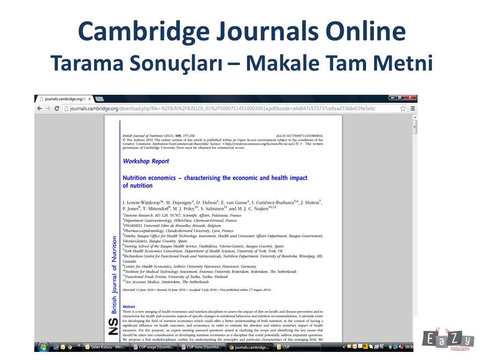 Cambridge Journals Online Tarama Sonuçları – Makale Tam Metni