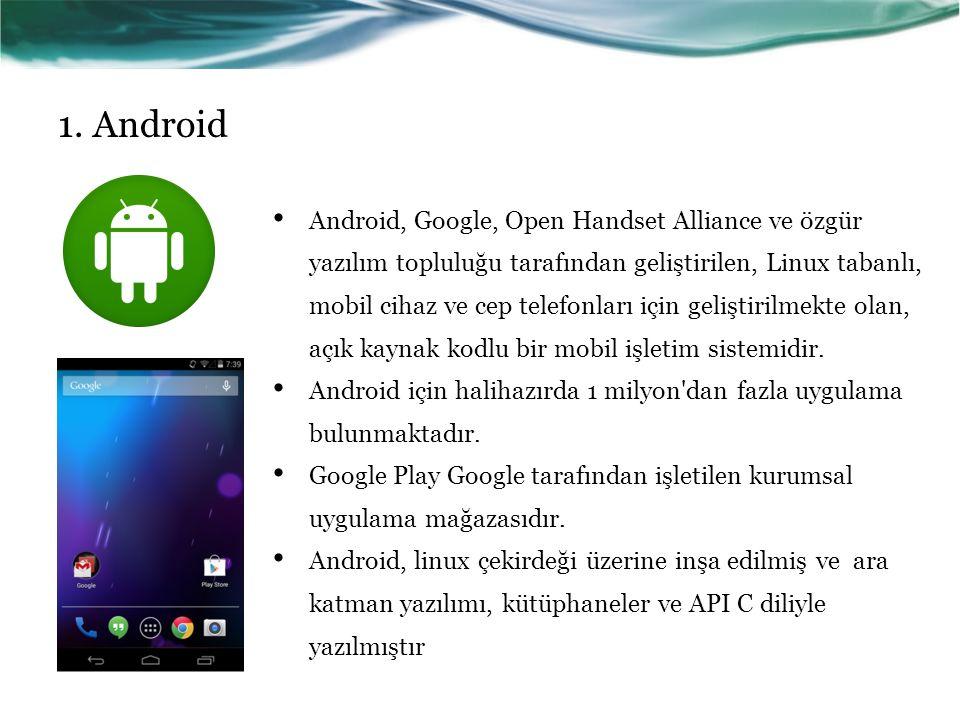 1. Android Android, Google, Open Handset Alliance ve özgür yazılım topluluğu tarafından geliştirilen, Linux tabanlı, mobil cihaz ve cep telefonları iç