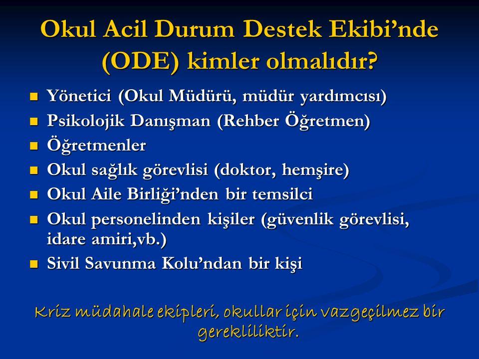 Okul Acil Durum Destek Ekibi'nde (ODE) kimler olmalıdır? Yönetici (Okul Müdürü, müdür yardımcısı) Yönetici (Okul Müdürü, müdür yardımcısı) Psikolojik