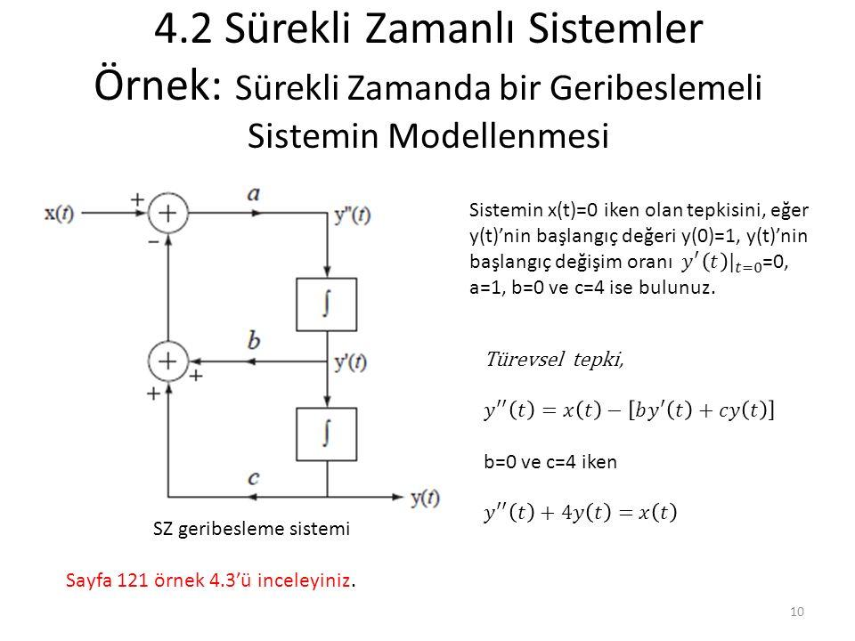 4.2 Sürekli Zamanlı Sistemler Örnek: Sürekli Zamanda bir Geribeslemeli Sistemin Modellenmesi SZ geribesleme sistemi Sayfa 121 örnek 4.3'ü inceleyiniz.