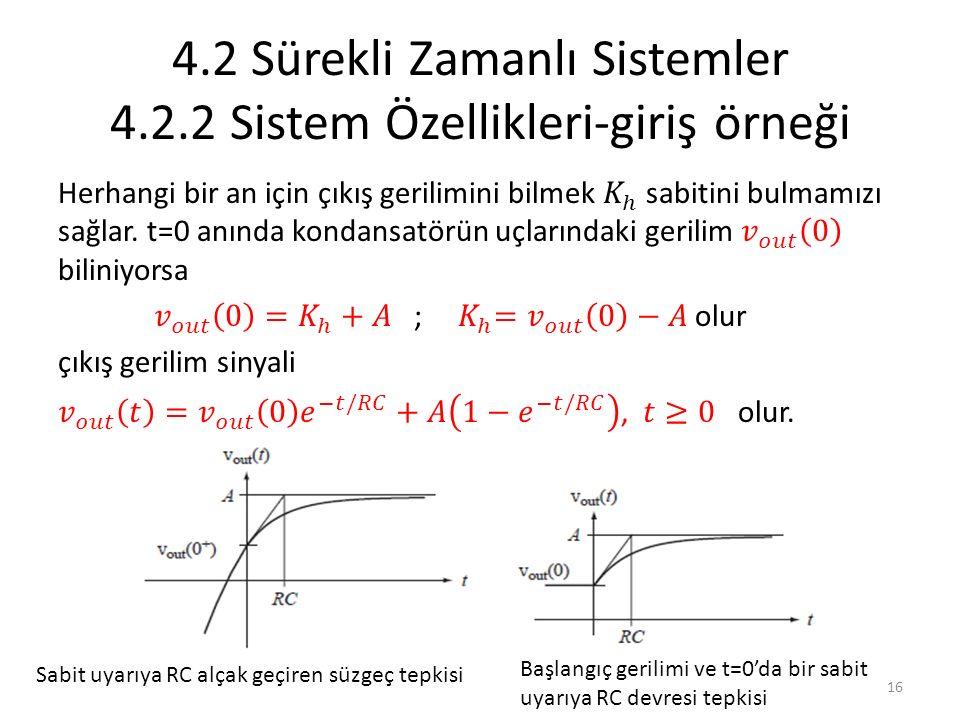 4.2 Sürekli Zamanlı Sistemler 4.2.2 Sistem Özellikleri-giriş örneği Sabit uyarıya RC alçak geçiren süzgeç tepkisi Başlangıç gerilimi ve t=0'da bir sab