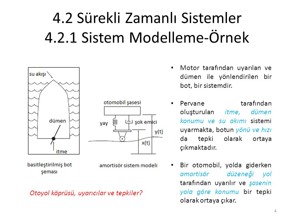 4.2 Sürekli Zamanlı Sistemler 4.2.1 Sistem Modelleme-Örnek Motor tarafından uyarılan ve dümen ile yönlendirilen bir bot, bir sistemdir. Pervane tarafı