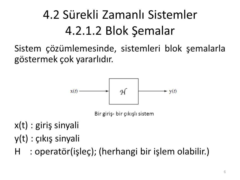 4.2 Sürekli Zamanlı Sistemler 4.2.1.2 Blok Şemalar Sistem çözümlemesinde, sistemleri blok şemalarla göstermek çok yararlıdır. x(t) : giriş sinyali y(t