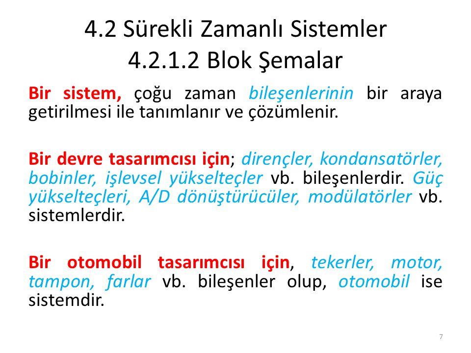 4.2 Sürekli Zamanlı Sistemler 4.2.1.2 Blok Şemalar Bir sistem, çoğu zaman bileşenlerinin bir araya getirilmesi ile tanımlanır ve çözümlenir. Bir devre