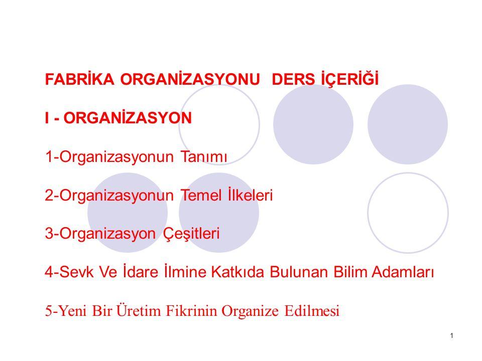 1 FABRİKA ORGANİZASYONU DERS İÇERİĞİ I - ORGANİZASYON 1-Organizasyonun Tanımı 2-Organizasyonun Temel İlkeleri 3-Organizasyon Çeşitleri 4-Sevk Ve İdare İlmine Katkıda Bulunan Bilim Adamları 5-Yeni Bir Üretim Fikrinin Organize Edilmesi