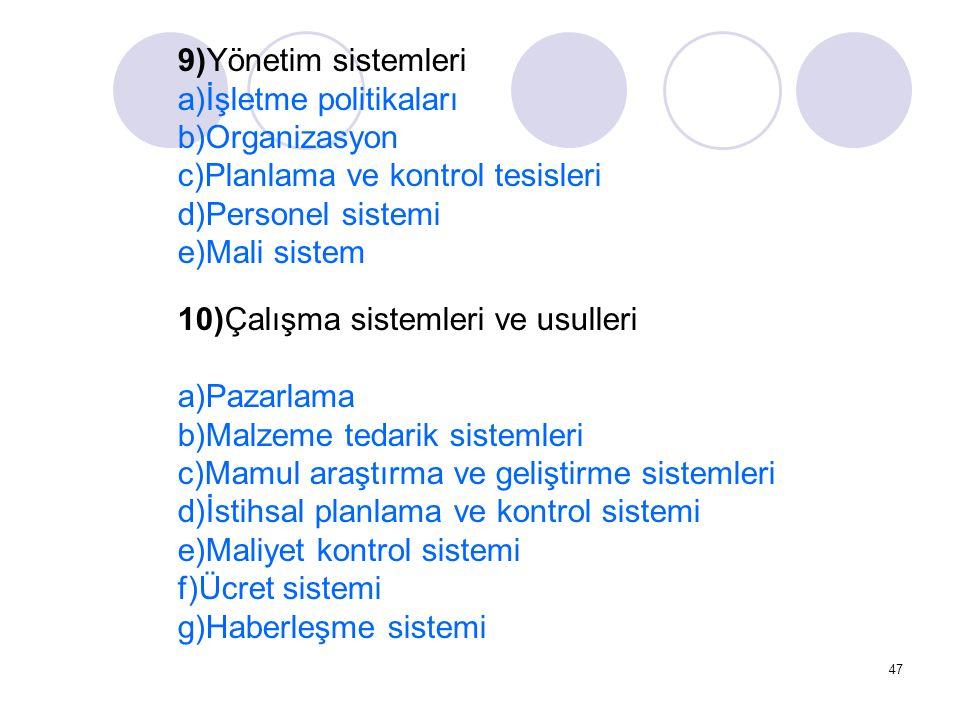 47 9)Yönetim sistemleri a)İşletme politikaları b)Organizasyon c)Planlama ve kontrol tesisleri d)Personel sistemi e)Mali sistem 10)Çalışma sistemleri v