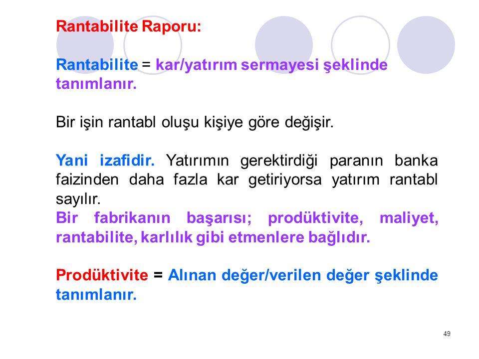 49 Rantabilite Raporu: Rantabilite = kar/yatırım sermayesi şeklinde tanımlanır. Bir işin rantabl oluşu kişiye göre değişir. Yani izafidir. Yatırımın g