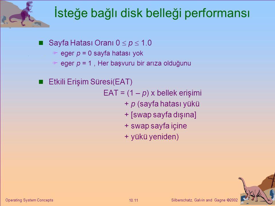 Silberschatz, Galvin and Gagne  2002 10.11 Operating System Concepts İsteğe bağlı disk belleği performansı Sayfa Hatası Oranı 0  p  1.0  eger p =