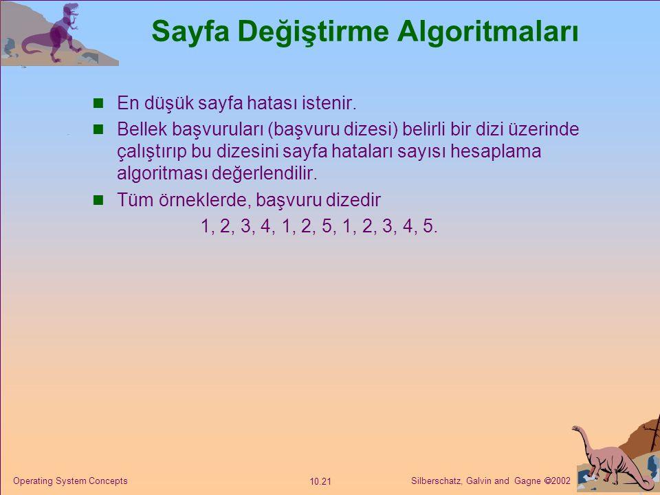 Silberschatz, Galvin and Gagne  2002 10.21 Operating System Concepts Sayfa Değiştirme Algoritmaları En düşük sayfa hatası istenir. Bellek başvuruları