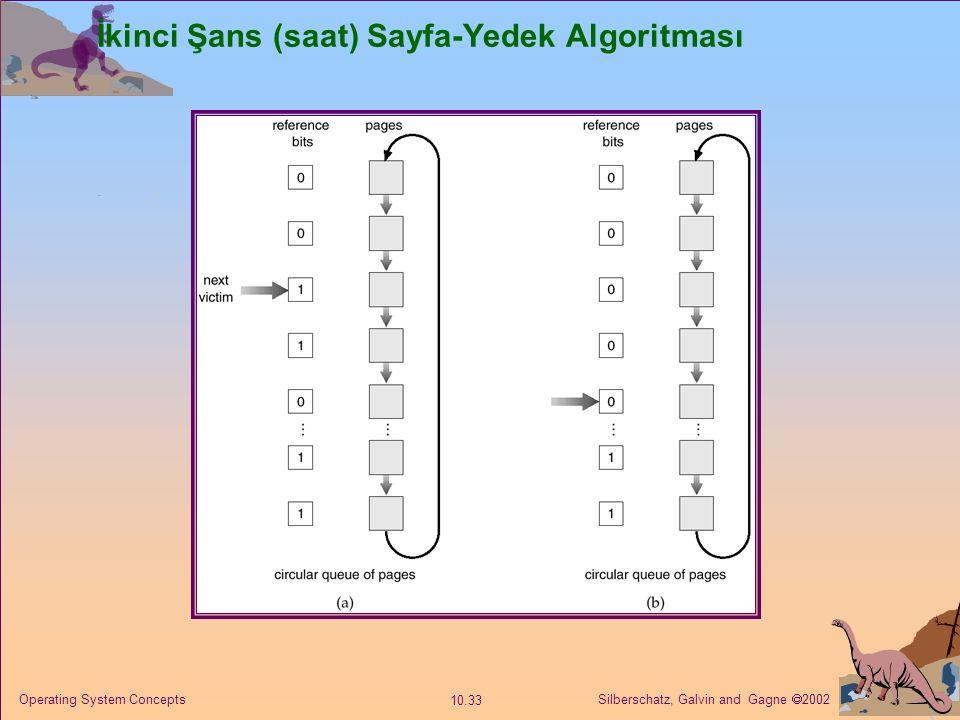 Silberschatz, Galvin and Gagne  2002 10.33 Operating System Concepts İkinci Şans (saat) Sayfa-Yedek Algoritması