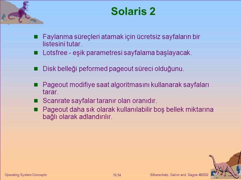 Silberschatz, Galvin and Gagne  2002 10.54 Operating System Concepts Solaris 2 Faylanma süreçleri atamak için ücretsiz sayfaların bir listesini tutar