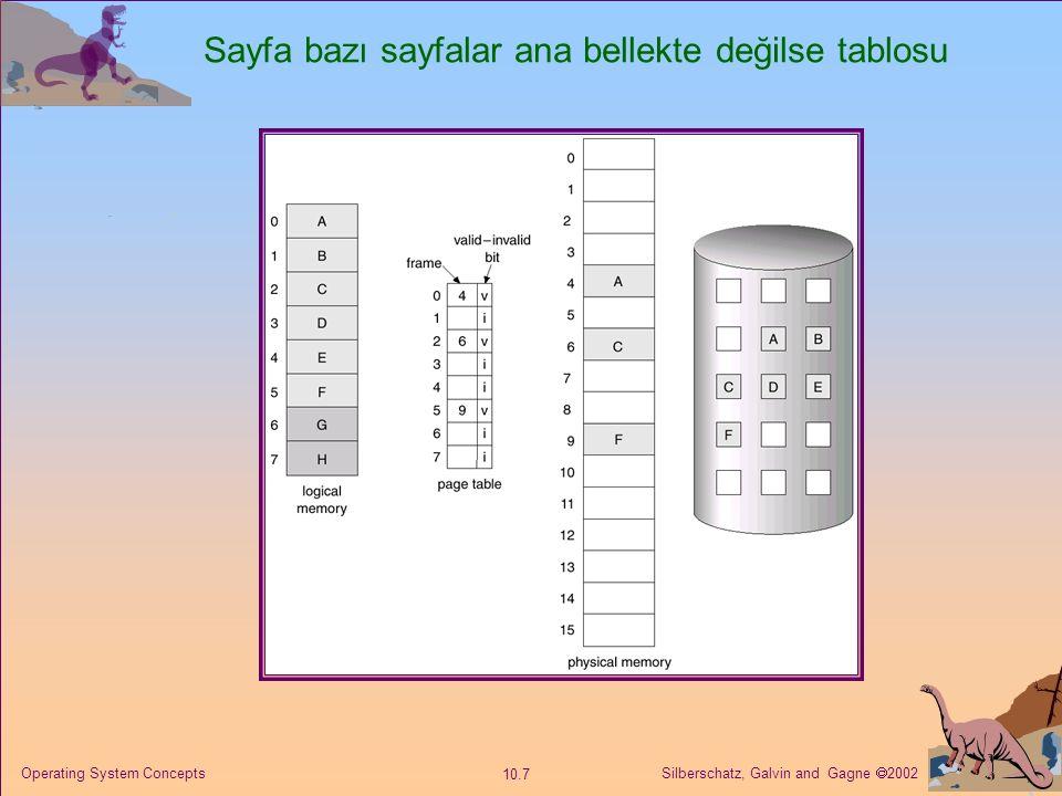 Silberschatz, Galvin and Gagne  2002 10.7 Operating System Concepts Sayfa bazı sayfalar ana bellekte değilse tablosu