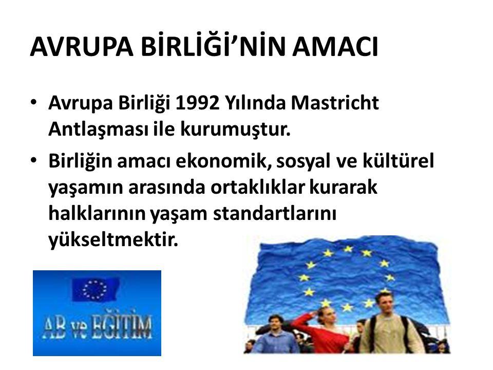 AVRUPA BİRLİĞİ'NİN AMACI Avrupa Birliği 1992 Yılında Mastricht Antlaşması ile kurumuştur.