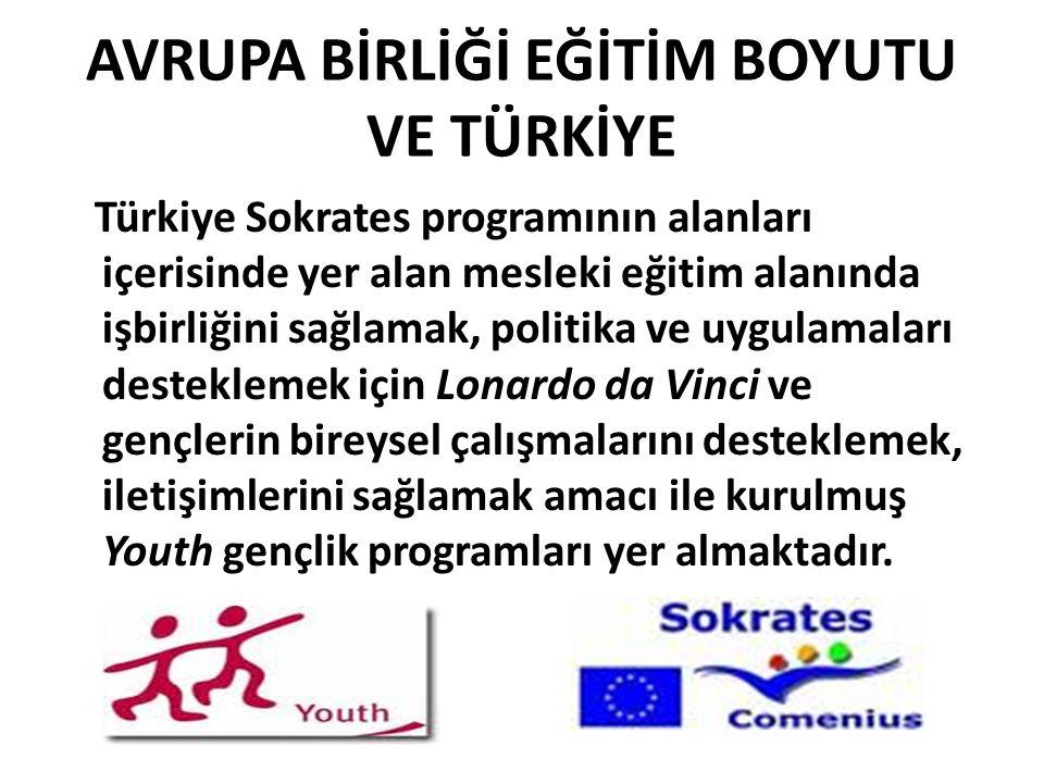 AVRUPA BİRLİĞİ EĞİTİM BOYUTU VE TÜRKİYE Türkiye Sokrates programının alanları içerisinde yer alan mesleki eğitim alanında işbirliğini sağlamak, politika ve uygulamaları desteklemek için Lonardo da Vinci ve gençlerin bireysel çalışmalarını desteklemek, iletişimlerini sağlamak amacı ile kurulmuş Youth gençlik programları yer almaktadır.
