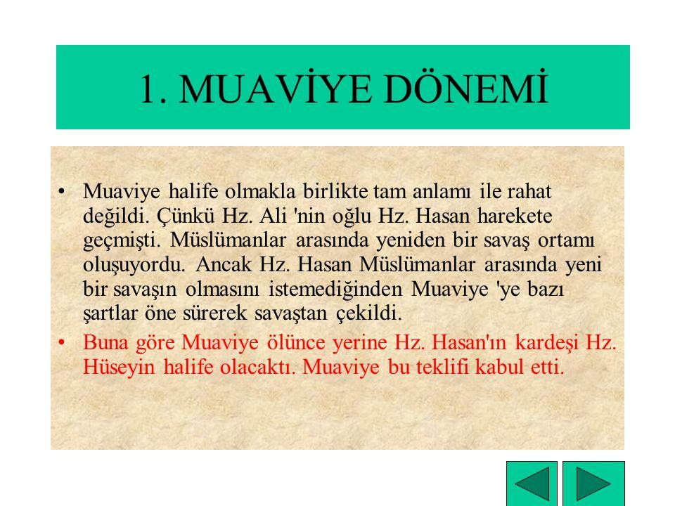 Hz. Ali'nin ölümü ile Muaviye İslam Devleti'nin başına halifesi oldu. Muaviye Emevi kabilesinden olduğu için Muaviye ve daha sonra kendi soyundan gele