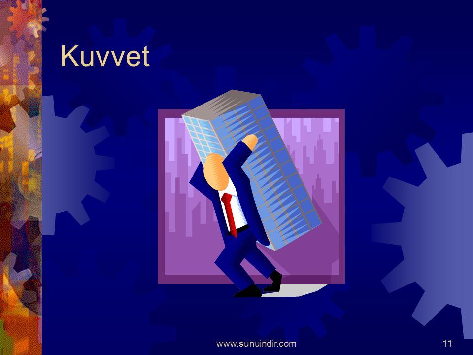 www.sunuindir.com10  Bir cisme ters yönlerden, eşit kuvvet uygulandığında cisim hareketsiz kalır.