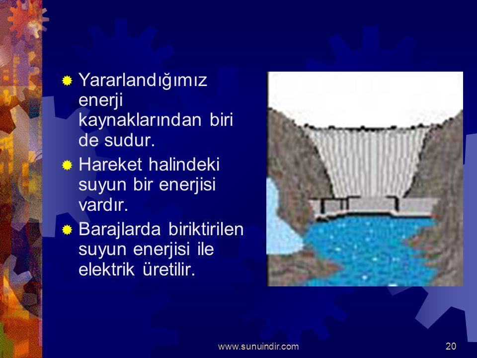 www.sunuindir.com19  Enerji kaynaklarının en büyüğü güneş'tir.  Seralarda turfanda sebze yetiştirmek,  Sıcak su ve elektrik elde etmek,  Evlerimiz