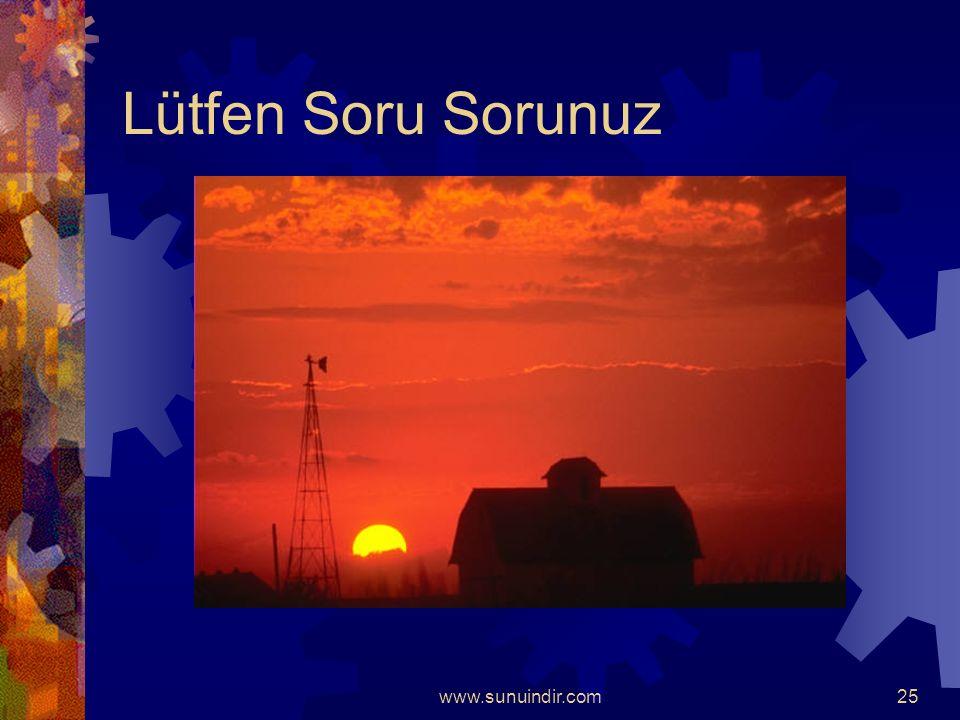www.sunuindir.com24 Rüzgar Enerjisi  Rüzgarın da bir enerjisi vardır. Bu enerji,  Yelkenli gemileri,  Yel değirmenlerini,  Rüzgar jeneratörlerini.