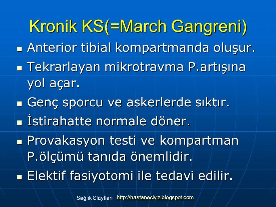 Kronik KS(=March Gangreni) Anterior tibial kompartmanda oluşur. Anterior tibial kompartmanda oluşur. Tekrarlayan mikrotravma P.artışına yol açar. Tekr