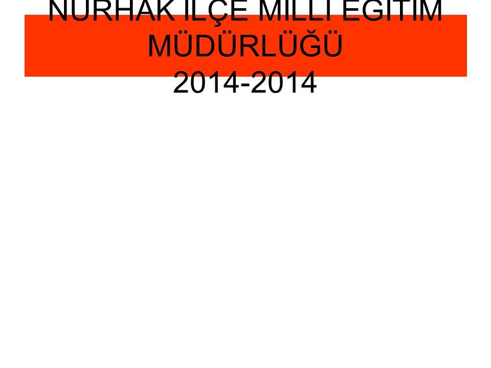 NURHAK İLÇE MİLLİ EĞİTİM MÜDÜRLÜĞÜ 2014-2014
