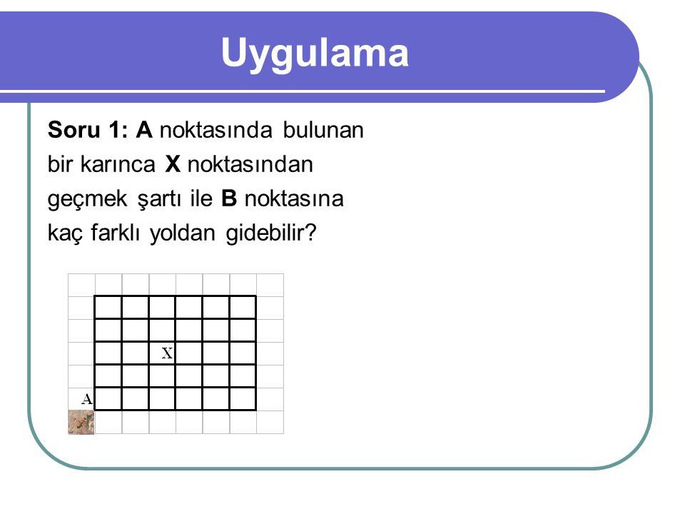 Uygulama Soru 1: A noktasında bulunan bir karınca X noktasından geçmek şartı ile B noktasına kaç farklı yoldan gidebilir?