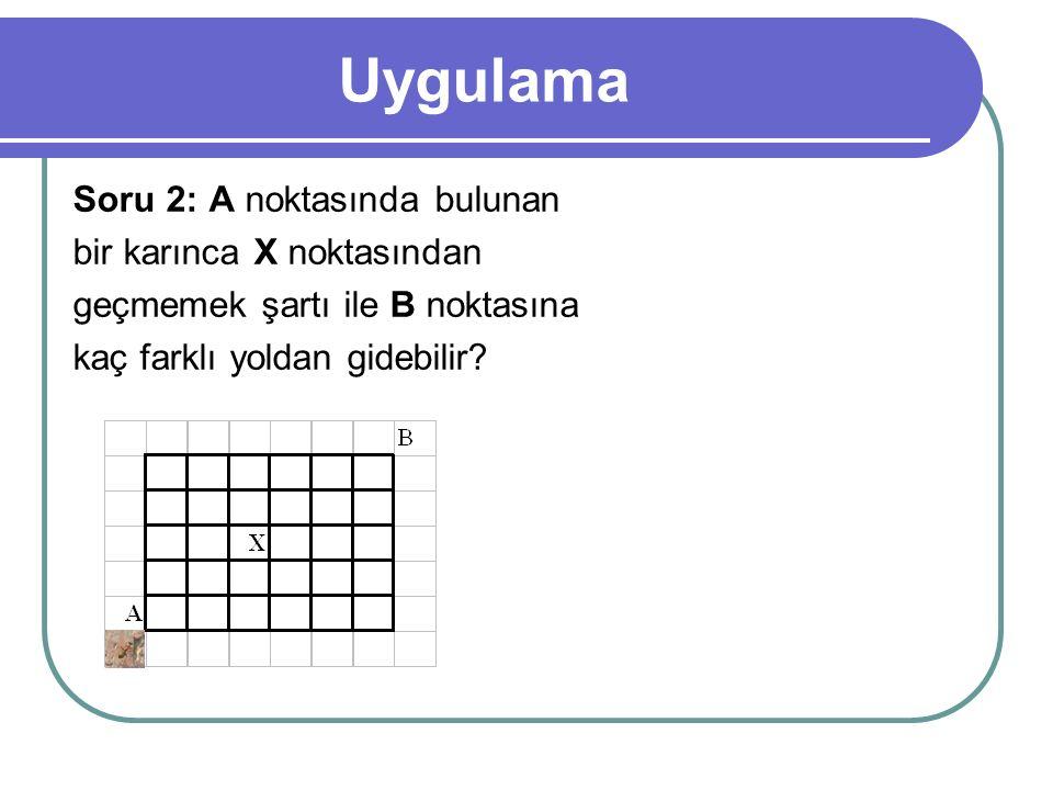 Uygulama Soru 2: A noktasında bulunan bir karınca X noktasından geçmemek şartı ile B noktasına kaç farklı yoldan gidebilir?