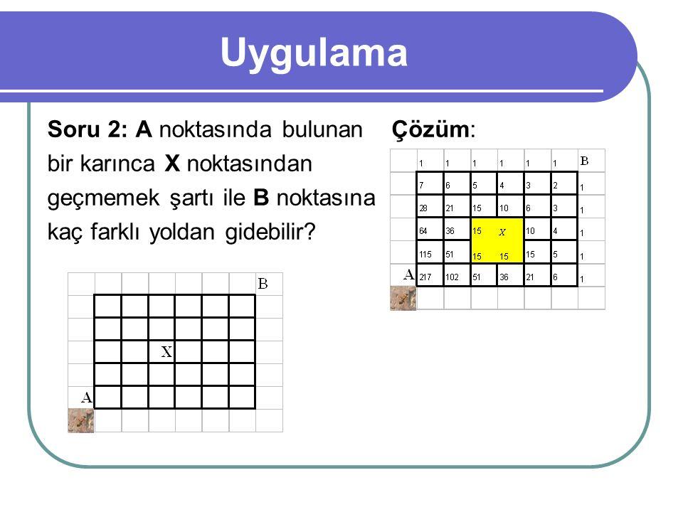 Uygulama Soru 2: A noktasında bulunan bir karınca X noktasından geçmemek şartı ile B noktasına kaç farklı yoldan gidebilir? Çözüm: