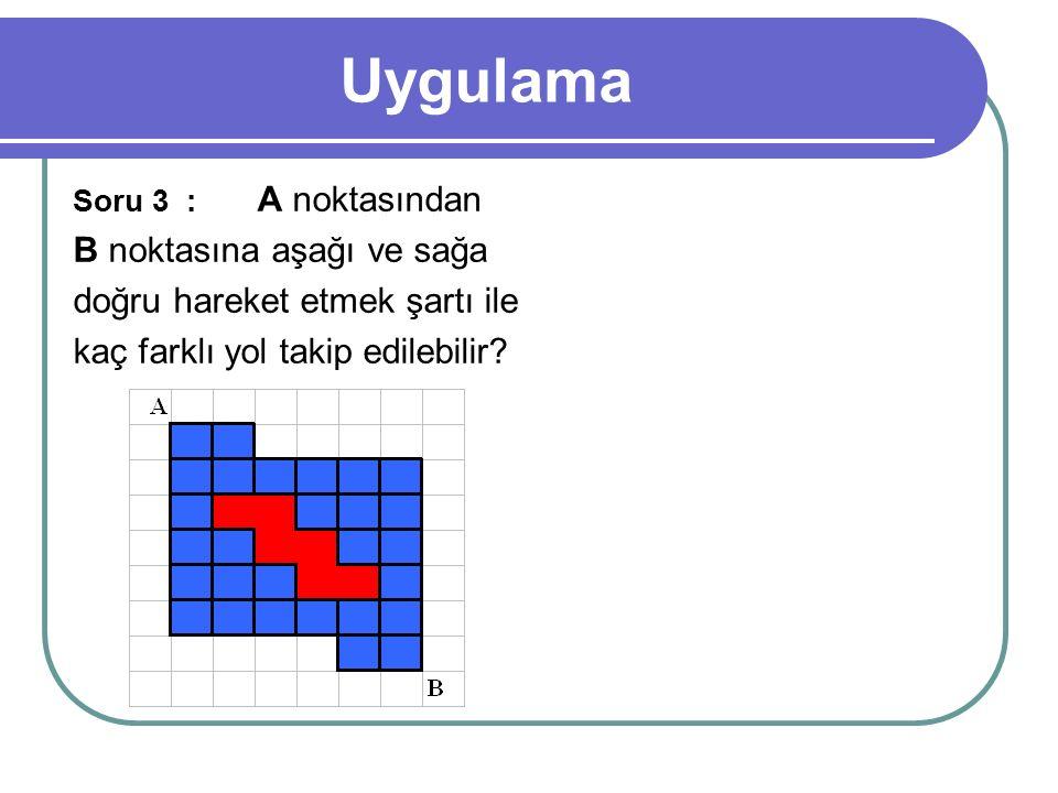 Uygulama Soru 3 : A noktasından B noktasına aşağı ve sağa doğru hareket etmek şartı ile kaç farklı yol takip edilebilir?