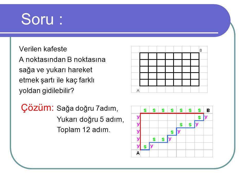 Soru : Verilen kafeste A noktasından B noktasına sağa ve yukarı hareket etmek şartı ile kaç farklı yoldan gidilebilir? Çözüm: Sağa doğru 7adım, Yukarı