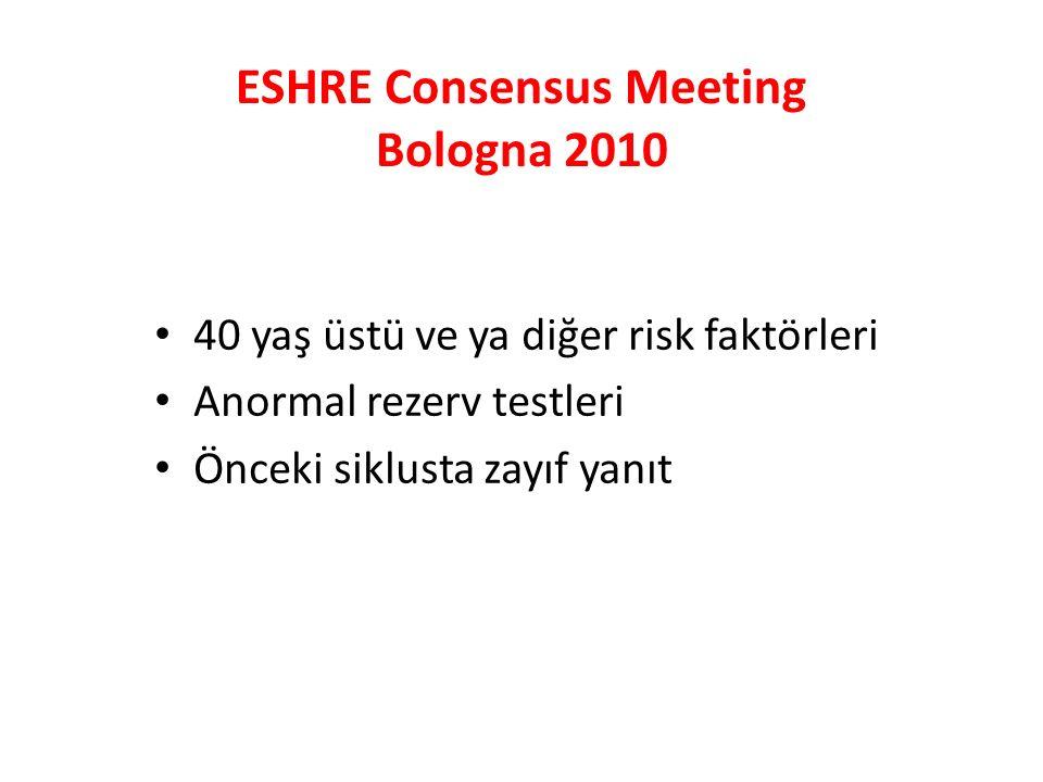 ESHRE Consensus Meeting Bologna 2010 40 yaş üstü ve ya diğer risk faktörleri Anormal rezerv testleri Önceki siklusta zayıf yanıt