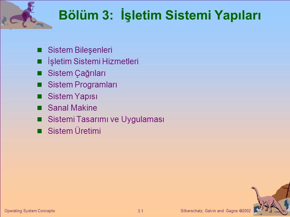 Silberschatz, Galvin and Gagne  2002 3.1 Operating System Concepts Bölüm 3: İşletim Sistemi Yapıları Sistem Bileşenleri İşletim Sistemi Hizmetleri Sistem Çağrıları Sistem Programları Sistem Yapısı Sanal Makine Sistemi Tasarımı ve Uygulaması Sistem Üretimi